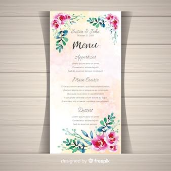 Plantilla floral de menú de boda en acuarela