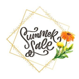 Plantilla floral de moda. flores de verano e ilustración de letras de venta de verano. textura de oro cutre sobre fondo rayado.