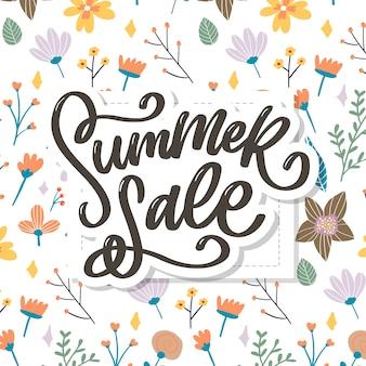 Plantilla floral de moda. flores de verano e ilustración de letras de venta de verano.