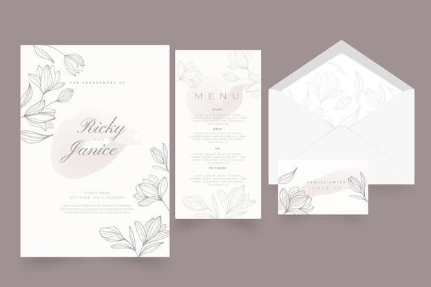 Plantilla floral de papelería de boda