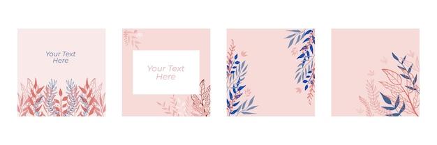 Plantilla floral plana orgánica para redes sociales o flyer cuadrado. conjunto floral plano orgánico