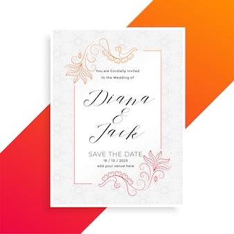 Plantilla floral preciosa del diseño de tarjeta de la invitación de la boda