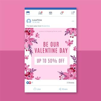 Plantilla floral de publicación de facebook del día de san valentín