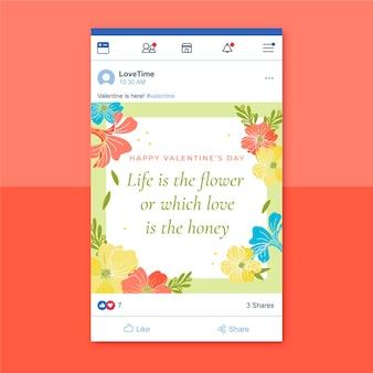 Plantilla floral de san valentín de publicación de facebook