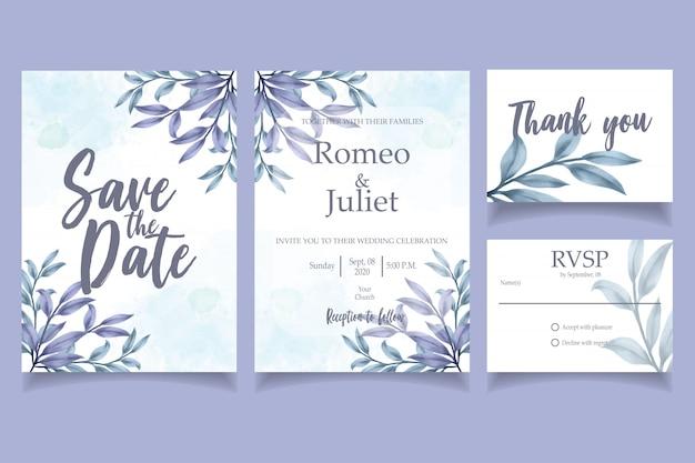Plantilla floral de la tarjeta del banquete de boda de la invitación de la acuarela azul de la hoja
