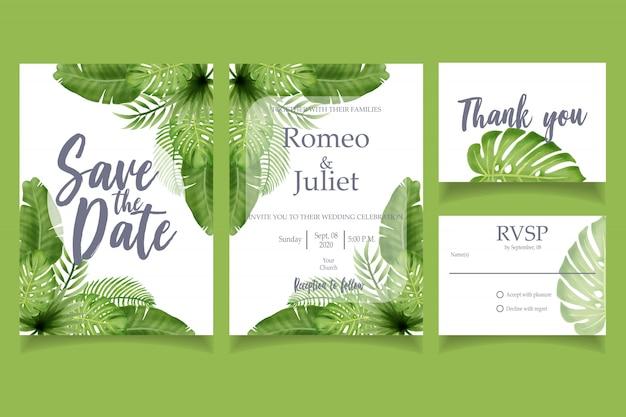 Plantilla floral de la tarjeta del banquete de boda de la invitación de la acuarela verde de la hoja