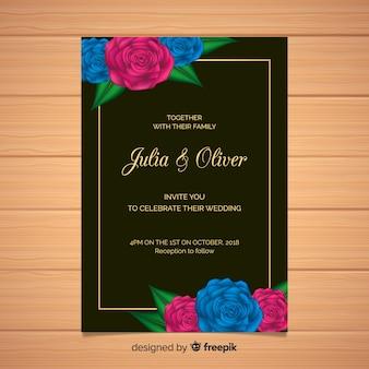 Plantilla floral de tarjeta de boda con marco dorado