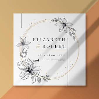 Plantilla floral de tarjeta de boda