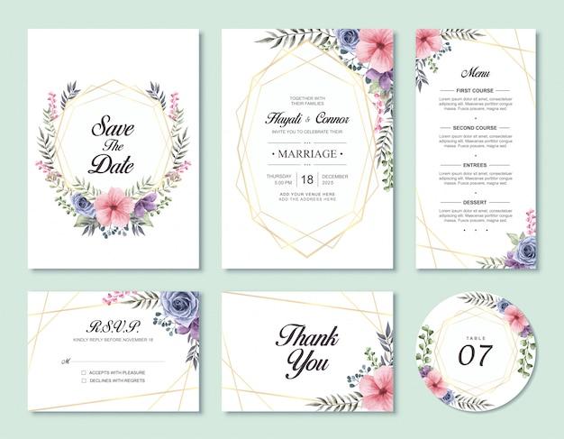 La plantilla floral de la tarjeta de la invitación de la boda de la acuarela preciosa fijó con rsvp y le agradece cardar