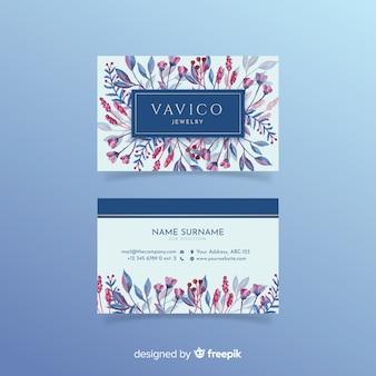 Plantilla floral de tarjeta de visita en acuarela
