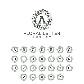 Plantilla floral del vector de la ilustración del concepto del paquete de la letra