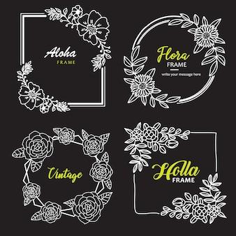 Plantilla de flores dibujadas a mano marco