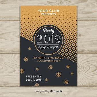 Plantilla de flyer año nuevo 2019 en diseño plano