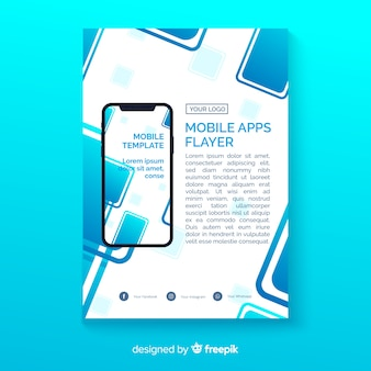 Plantilla de flyer de aplicación móvil