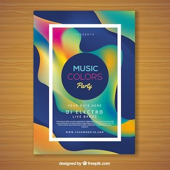 Plantilla de flyer creativo colorido para festival de música