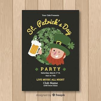 Plantilla de flyer del día de san patricio en diseño plano