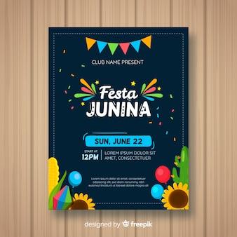Plantilla de flyer de festa junina flat