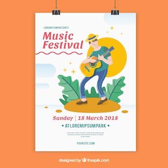 Plantilla de flyer para festival de música con hombre tocando la guitarra