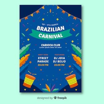 Plantilla de flyer de fiesta del carnaval de brasil