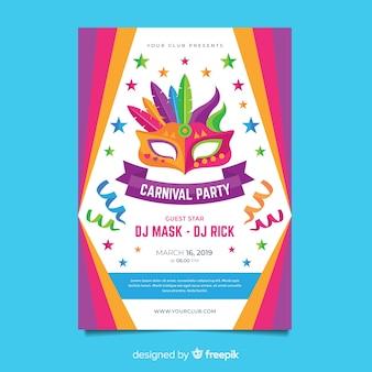 Plantilla de flyer de fiesta de carnavales en diseño plano
