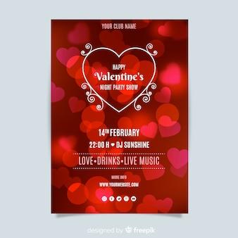 Plantilla de flyer de fiesta para del día de san valentin