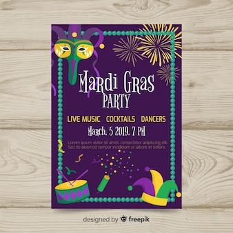 Plantilla de flyer de fiesta de mardi gras carnaval