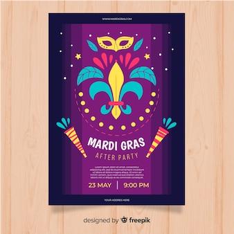 Plantilla de flyer de fiesta del mardi grass carnaval