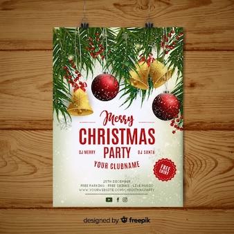 Plantilla de flyer de fiesta de navidad realista