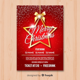 Plantilla para flyer de fiesta de navidad en rojo y dorado