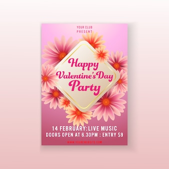 Plantilla flyer fiesta de san valentín