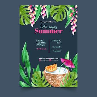 Plantilla flyer fiesta tropical