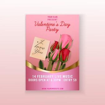 Plantilla flyer fondo del día de san valentín