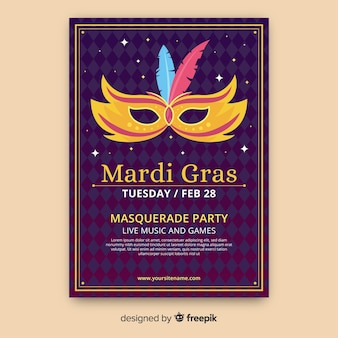 Plantilla de flyer de mardi gras carnaval