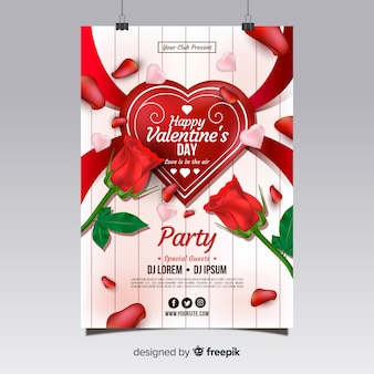Plantilla de flyer realista para fiesta de san valentín