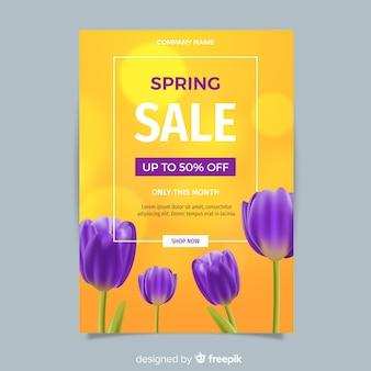 Plantilla de flyer realista de rebajas de primavera