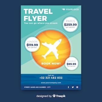Plantilla de flyer de viaje en diseño plano