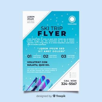 Plantilla de flyer de viaje para esquiar