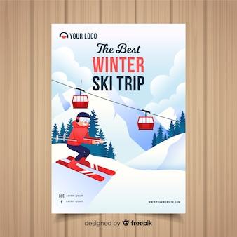 Plantilla de flyer de viajes para esquiar
