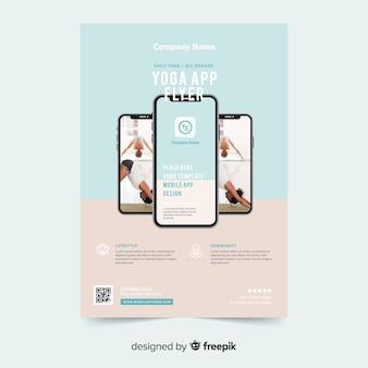 Plantilla de folleto de aplicación para yoga