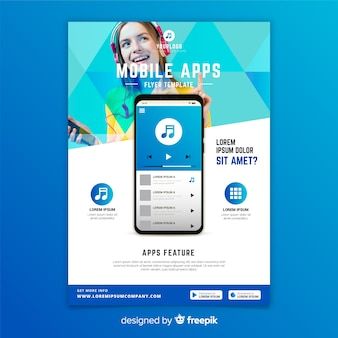 Plantilla de folleto de aplicaciones móviles con foto