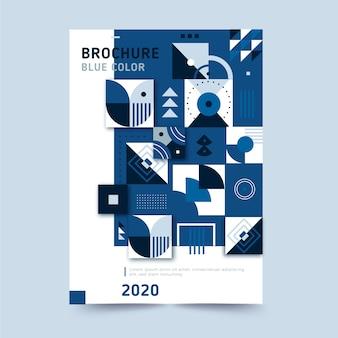 Plantilla de folleto azul clásico abstracto