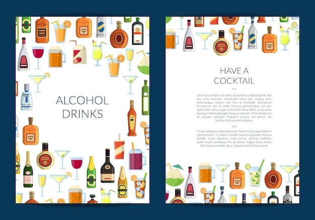 Plantilla de folleto para bar o licorería con bebidas alcohólicas en vasos y botellas.