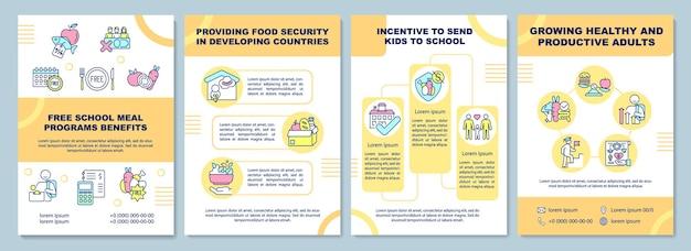 Plantilla de folleto de beneficios de programas de comidas escolares gratis