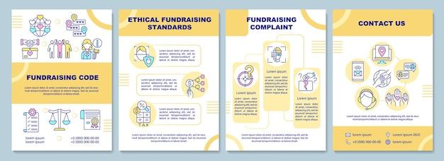 Plantilla de folleto de código de recaudación de fondos. estándares éticos de recaudación de fondos.