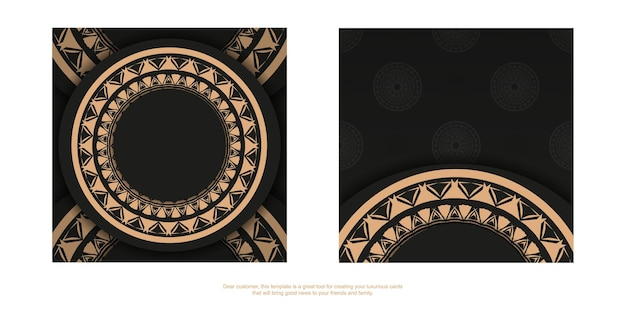 Plantilla de folleto de color negro con adorno de mandala marrón