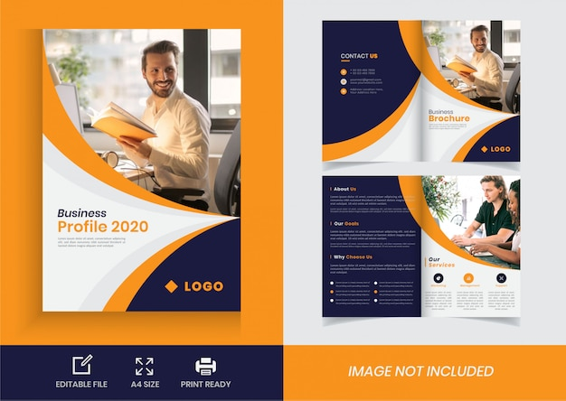 Plantilla de folleto comercial bi fold