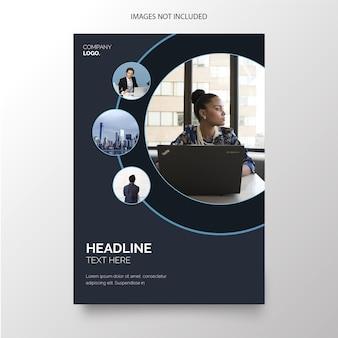Plantilla de folleto comercial moderno con formas de círculo azul
