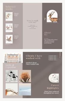 Plantilla de folleto comercial tríptico en elegante diseño para una empresa de arte