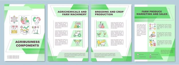 Plantilla de folleto de componente de agroindustria. maquinaria agrícola.