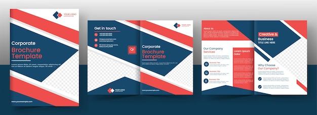 Plantilla de folleto corporativo o diseño de página de portada en vista frontal y posterior.